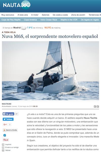 NAUTA 360 - Nuva M6S, el sorprendente motovelero español